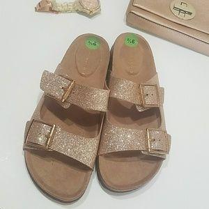c8bb8936dc21 Madden Girl Shoes - Madden Girl Brando Glitter Flat Sandals Rose Gold